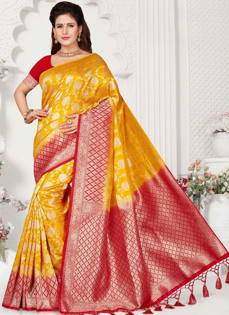Art Silk Mustard Weaving Traditional Designer Saree