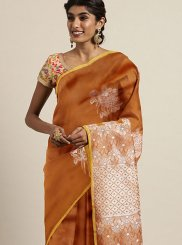 Art Silk Mustard Weaving Trendy Saree