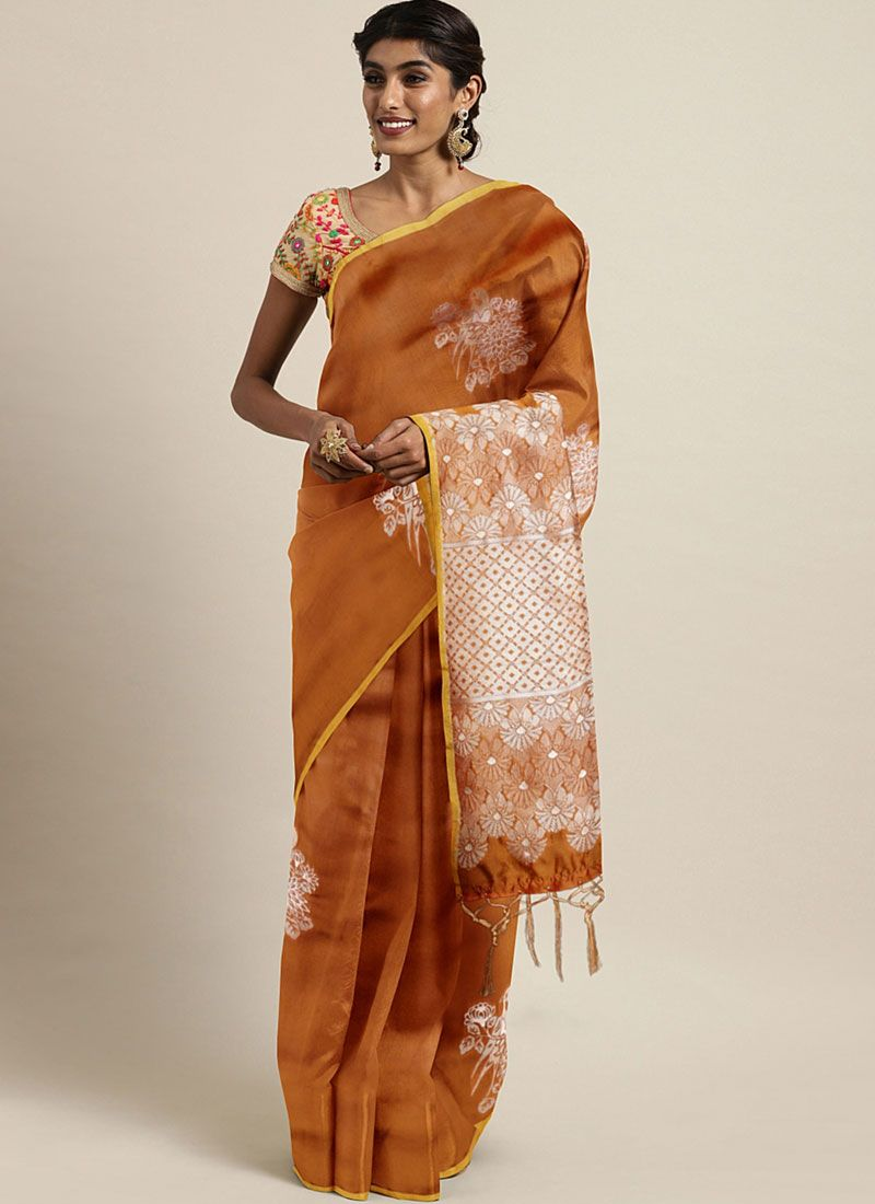 Art Silk Mustard Weaving Trendy Saree
