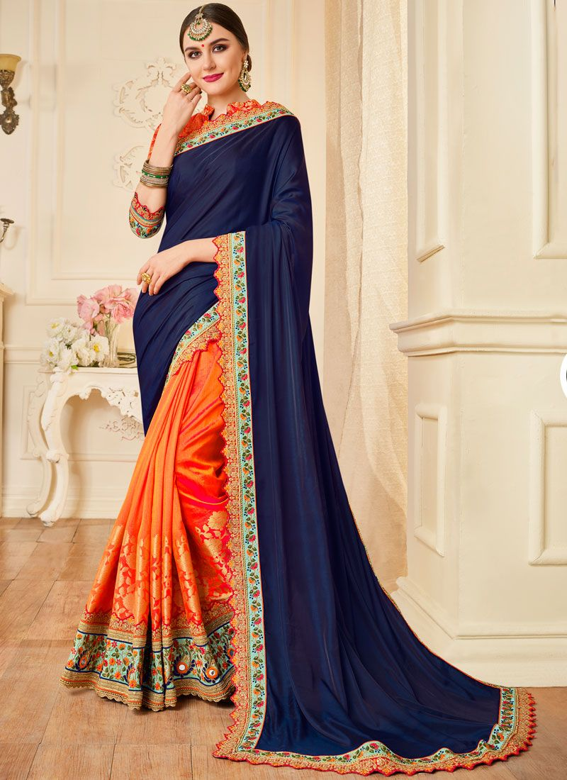 Art Silk Navy Blue and Orange Embroidered Designer Half N Half Saree