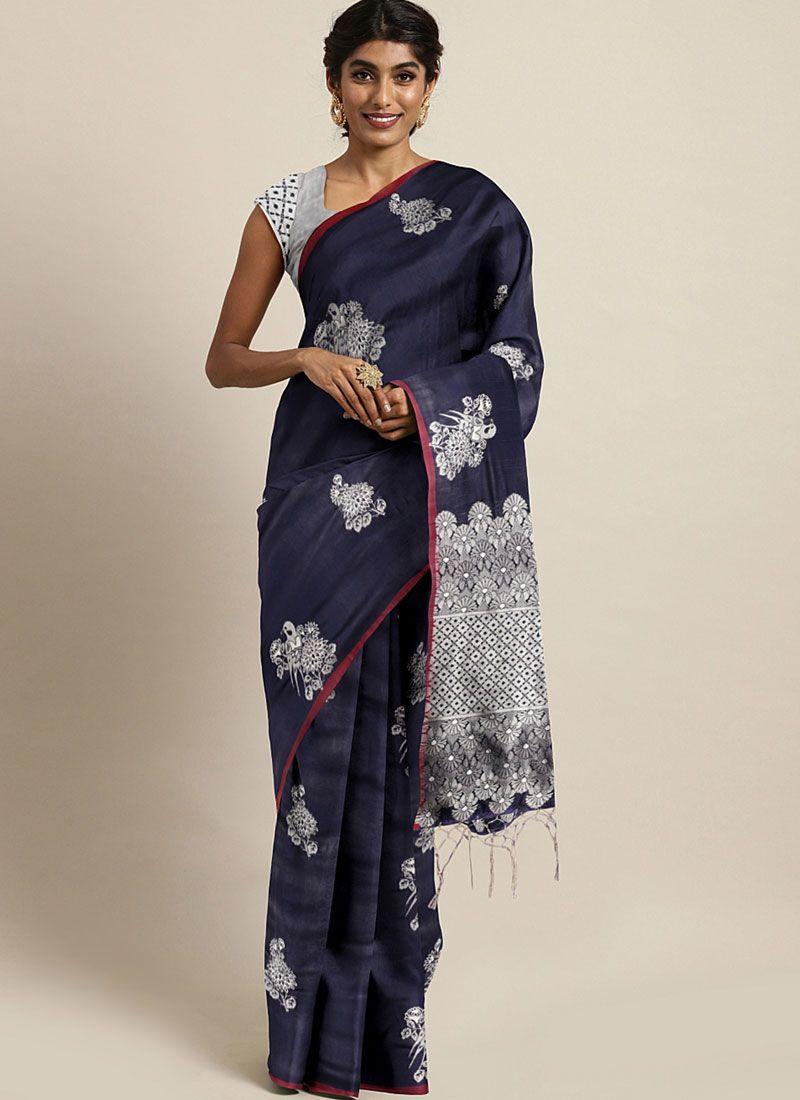 Art Silk Navy Blue Classic Saree