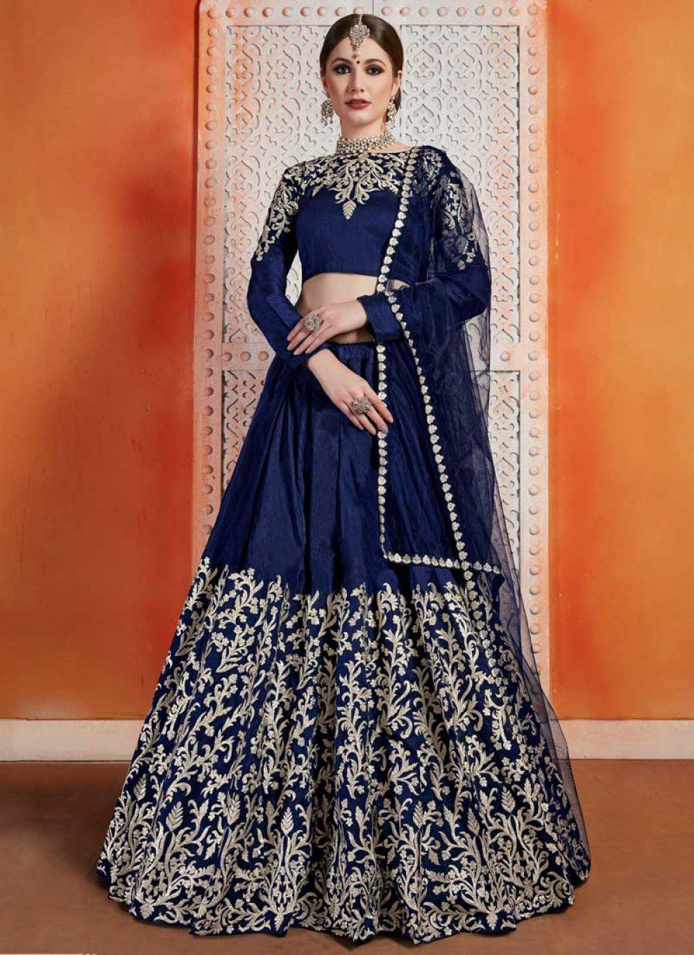 Art Silk Navy Blue Designer Lehenga Choli