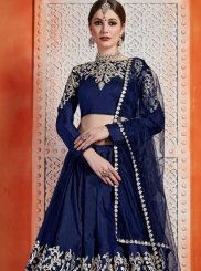 Art Silk Navy Blue Designer Lehenga Choli