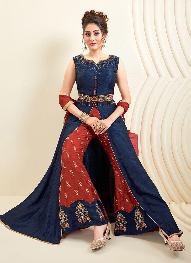 Art Silk Navy Blue Designer Palazzo Salwar Suit