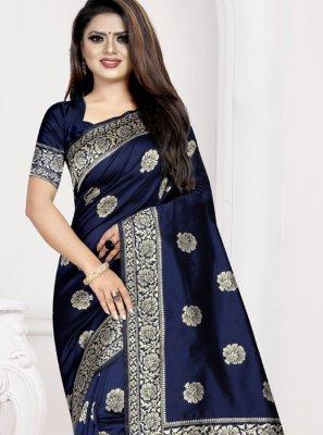 Art Silk Navy Blue Designer Traditional Saree