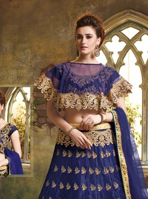 Art Silk Navy Blue Embroidered Designer Lehenga Choli