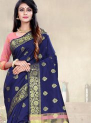 Art Silk Navy Blue Traditional Saree