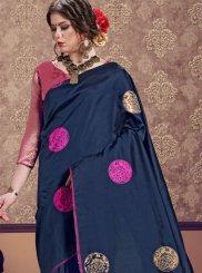 Art Silk Navy Blue Weaving Classic Designer Saree
