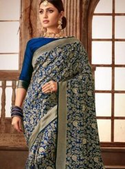 Art Silk Navy Blue Weaving Traditional Designer Saree