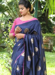 Art Silk Navy Blue Woven Traditional Designer Saree