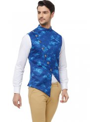 Art Silk Nehru Jackets in Blue