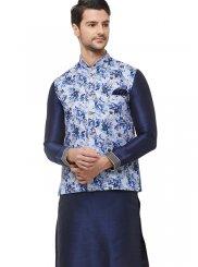 Art Silk Nehru Jackets in Blue
