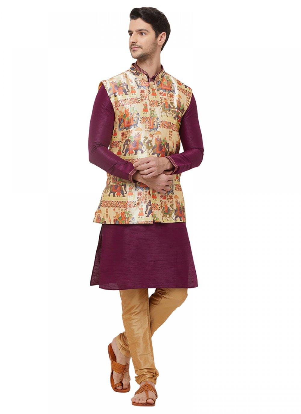 Art Silk Nehru Jackets in Multi Colour