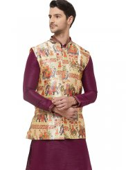 Art Silk Nehru Jackets in Multi Colour