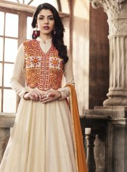 Art Silk Off White Anarkali Salwar Suit