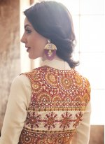 Art Silk Off White Anarkali Salwar Suit