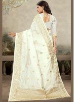 Art Silk Off White Classic Designer Saree