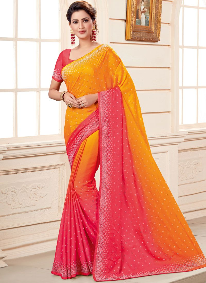 Art Silk Orange and Pink Embroidered Shaded Saree