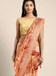 Art Silk Orange and Red Weaving Traditional Designer Saree