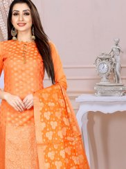 Art Silk Orange Churidar Designer Suit