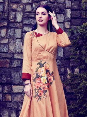 Art Silk Orange Designer Kurti