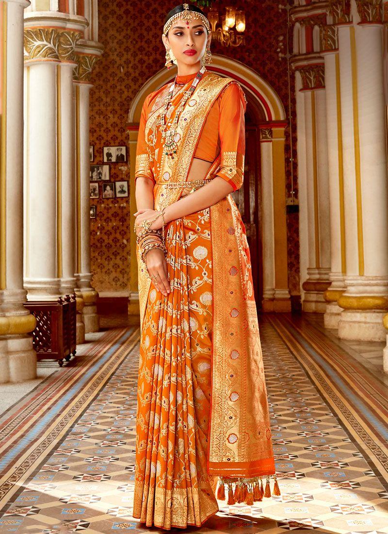 Art Silk Orange Designer Saree