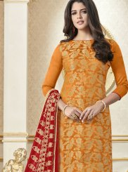 Art Silk Orange Embroidered Churidar Suit
