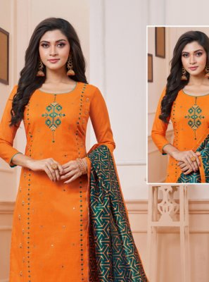 Art Silk Orange Embroidered Churidar Suit
