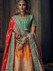 Art Silk Orange Patch Border Lehenga Choli