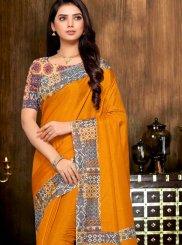 Art Silk Orange Print Printed Saree