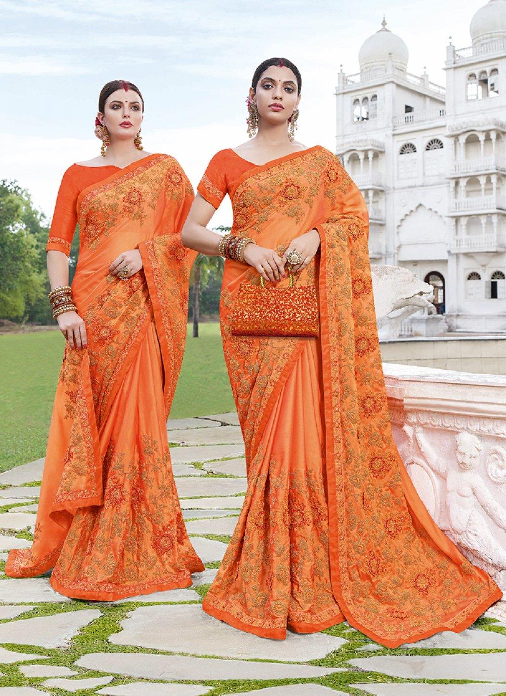 Art Silk Orange Saree