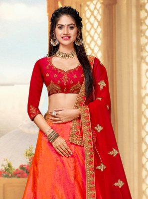 Art Silk Orange Trendy Lehenga Choli