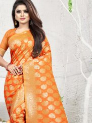 Art Silk Orange Weaving Classic Saree