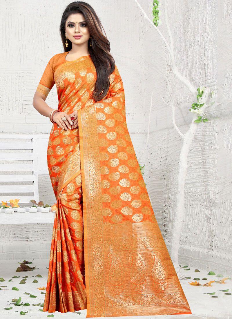 Art Silk Orange Weaving Classic Saree