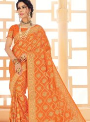 Art Silk Orange Woven Classic Saree
