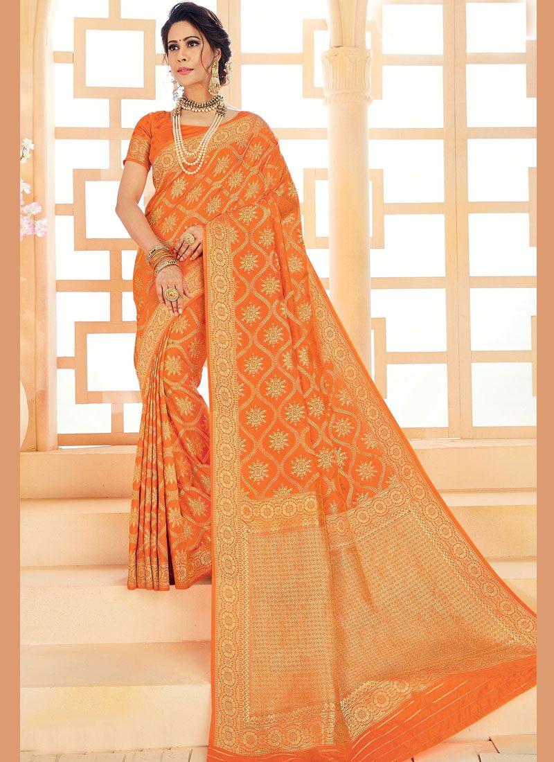 Art Silk Orange Woven Classic Saree