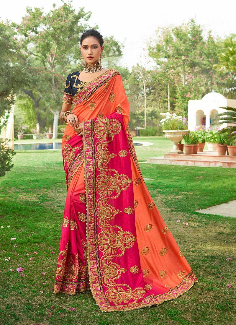 Art Silk Orange Zari Classic Saree