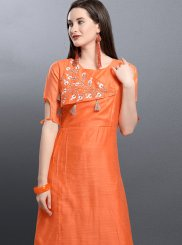 Art Silk Party Wear Kurti in Orange