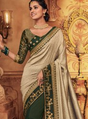Art Silk Patch Border Classic Designer Saree in Green