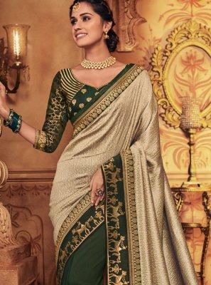 Art Silk Patch Border Classic Designer Saree in Green