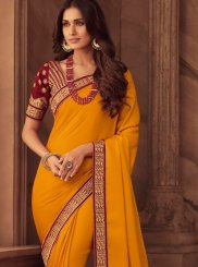 Art Silk Patch Border Classic Designer Saree in Orange