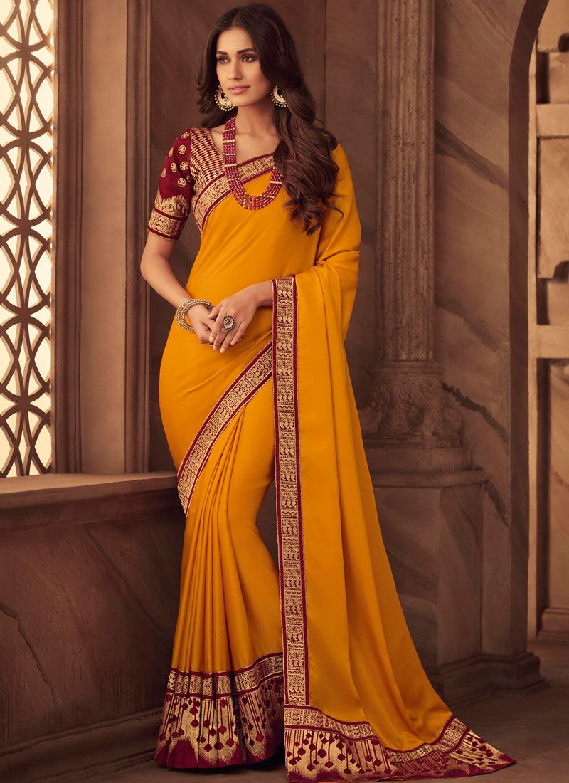 Art Silk Patch Border Classic Designer Saree in Orange