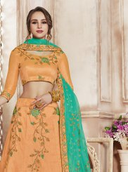 Art Silk Patch Border Designer Lehenga Choli in Peach