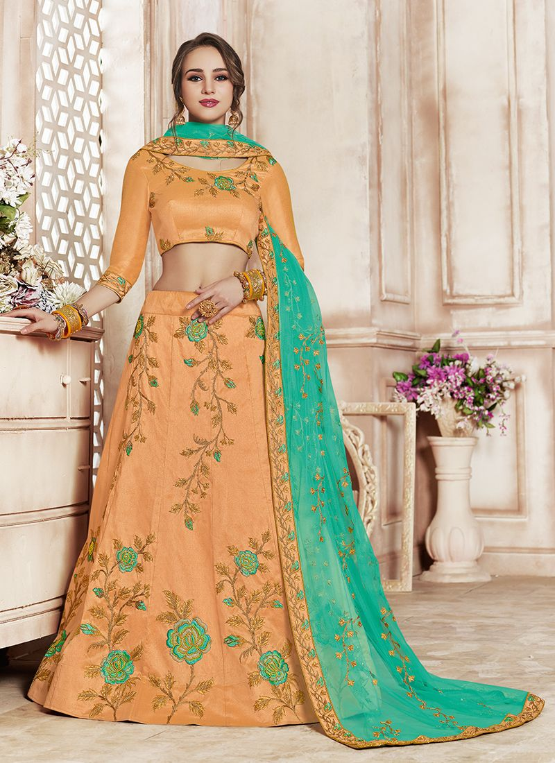 Art Silk Patch Border Designer Lehenga Choli in Peach