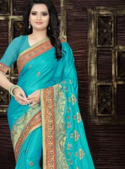 Art Silk Patch Border Designer Traditional Saree in Blue
