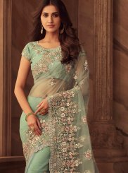 Art Silk Patch Border Green Classic Saree