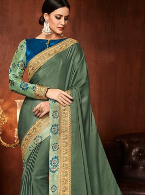 Art Silk Patch Border Green Designer Traditional Saree