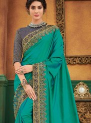 Art Silk Patch Border Green Traditional Designer Saree