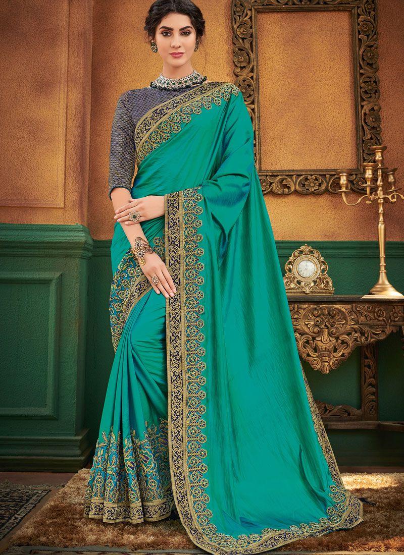 Art Silk Patch Border Green Traditional Designer Saree