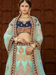 Art Silk Patch Border Lehenga Choli in Blue